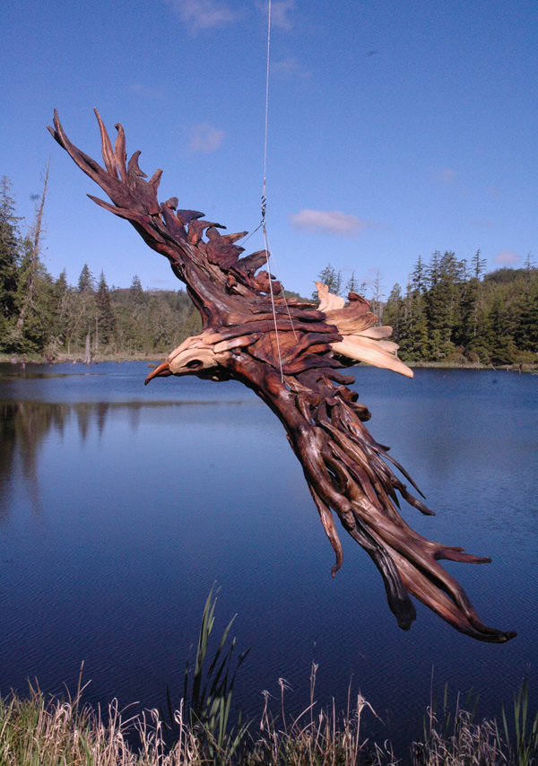 Driftwood Sculptures Workings - Flying bird sculpture