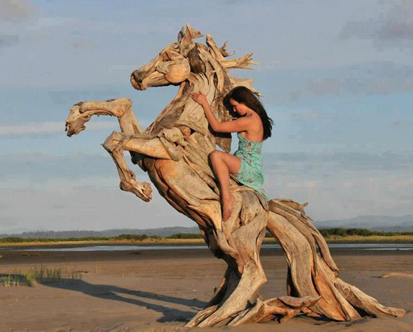 Woman Riding a Driftwood Horse - Driftwood Sculptures Workings